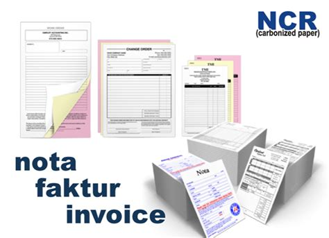 Kwitansi Ncr 2 Rangkap nota faktur kwitansi invoice percetakan murah di