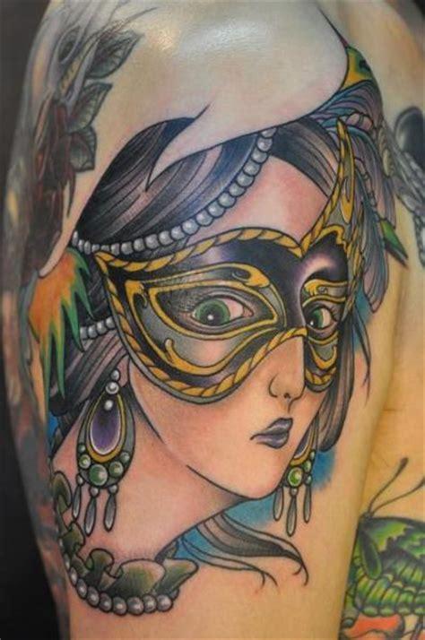 tattoo new school woman shoulder new school women mask tattoo by detroit diesel tattoo
