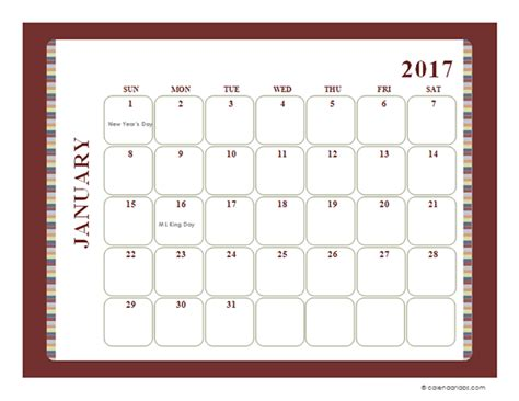 2017 monthly calendar template large boxes free