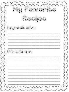 Preschool Recipe Card Template by Writing For Right Around Thanksgiving Time