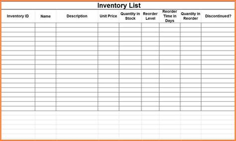Inventory Spreadsheet Template Free by 7 Free Printable Spreadsheet Template Costs Spreadsheet