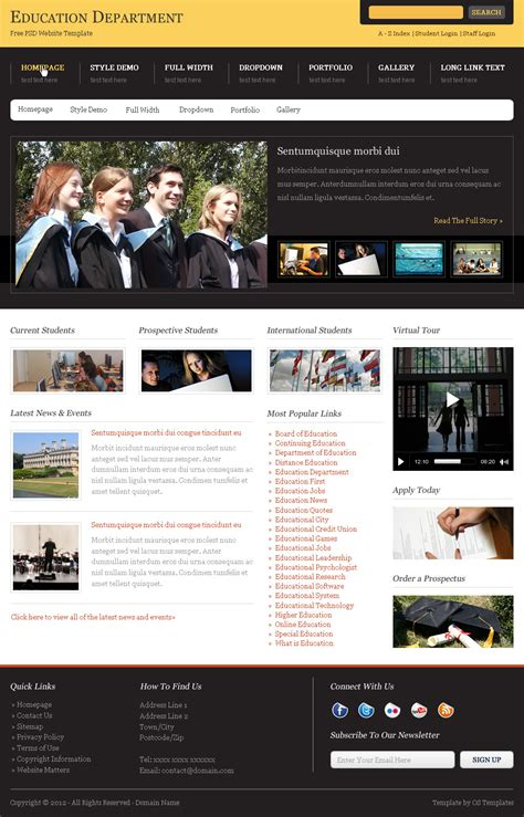 Os Templates Template Demos Demo Of The Education Department Free Website Template Free Department Website Templates