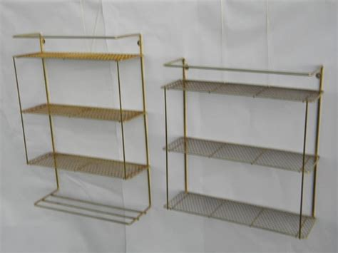 2 retro vintage hanging wall shelf units with metal mesh
