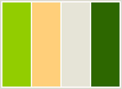 colors that go with green colorcombo7 with hex colors 92cd00 ffcf79 e5e4d7 2c6700