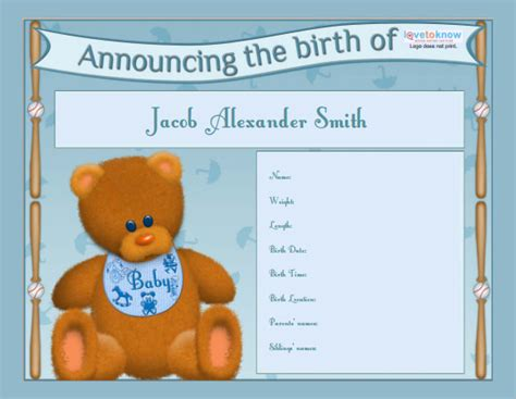 Free Birth Announcement Template by Birth Announcement Template Birth Announcement Boy