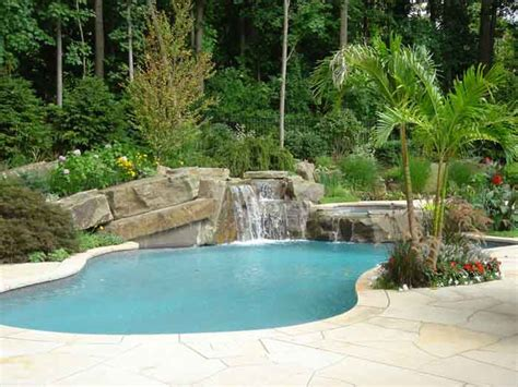 backyard designs with pool backyard swimming pools waterfalls natural landscaping nj