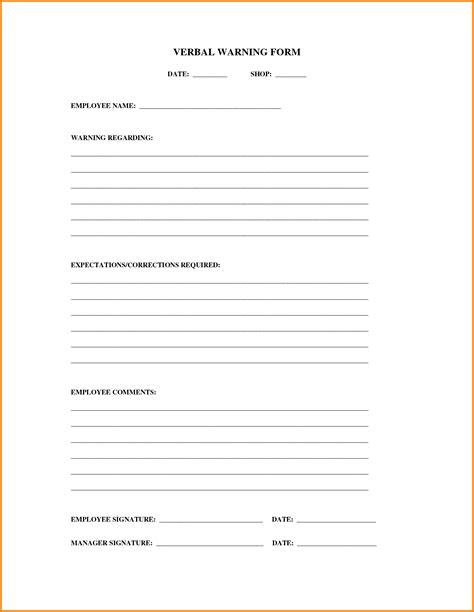 verbal warning template 9 verbal warning form cashier resume