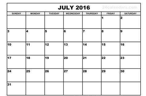 July 2016 Calendar Pdf Calendar Template 2018 July Schedule Template