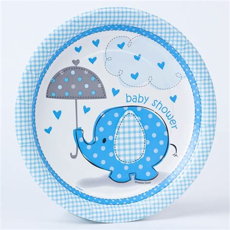 Blue Elephant Baby Shower by Blue Elephant Print Baby Shower Paper Plates Pack Of 8