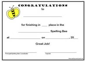 Spelling Bee Award Certificate Template by Free Spelling Bee Certificates