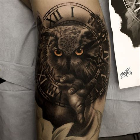 owl tattoo clock eyes clock tattoo tattoo insider