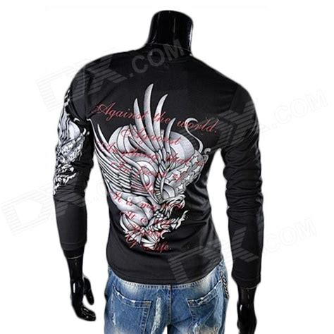 tattoo round neck eagle tattoo pattern round neck long sleeve t shirt