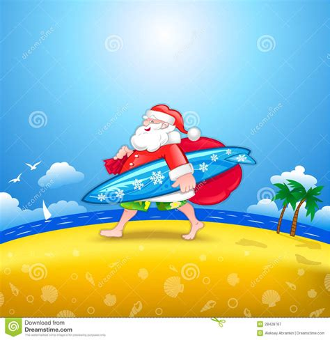santa with surfboard royalty free stock photography