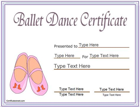 templates for dance certificates sports certificates award template for ballet ballet
