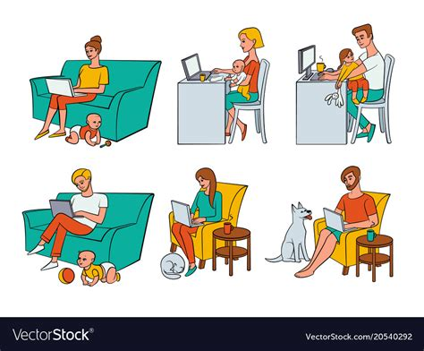 flat people working  home remote work vector image