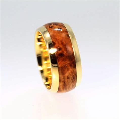wood ring  yellow gold wedding band  black ash