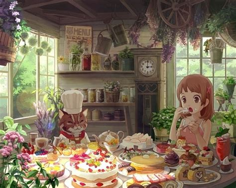 cat kitchen wallpaper 二次元少女动漫图片