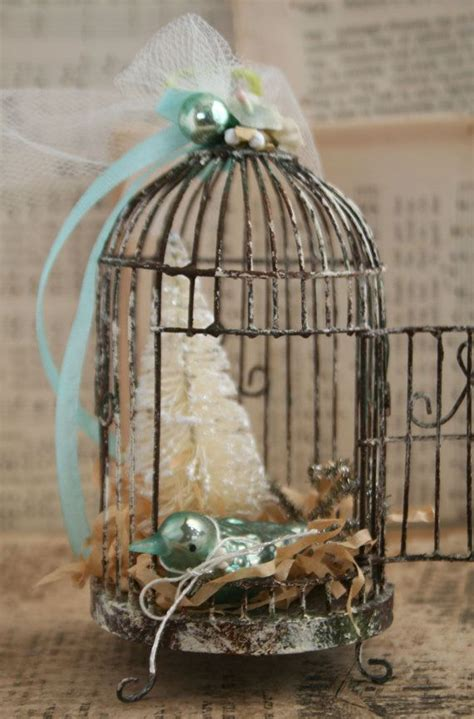 aqua blue and cream weathered wire bird cage holiday