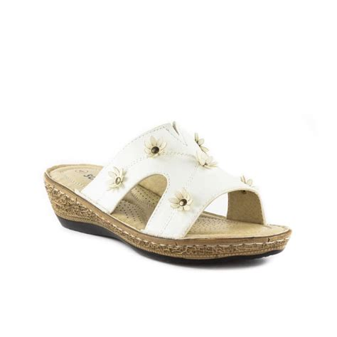 Sendal Wedges Pnc 1 softlites womens white flower wedge mule sandal sizes 3 4 5 6 7 8 9 ebay
