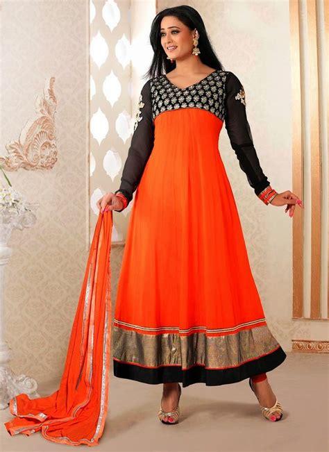 color combination for black newfangled anarkali dresses in orange and black color