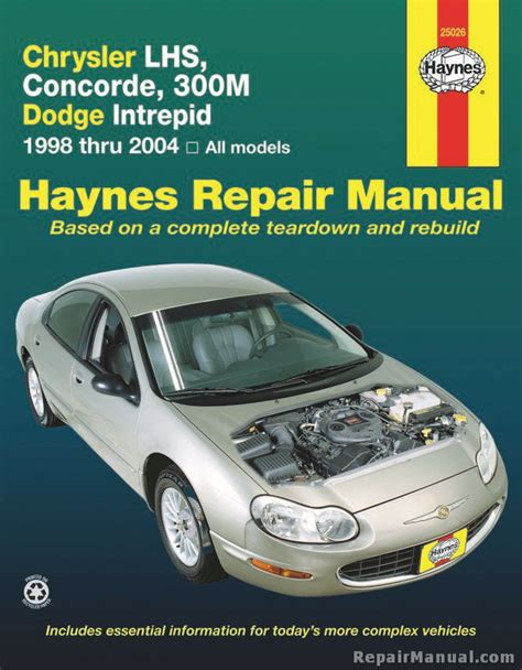 car repair manuals online free 1994 chrysler lhs engine control haynes chrysler lhs concorde 300m and dodge intrepid 1998 2004 auto repair manual