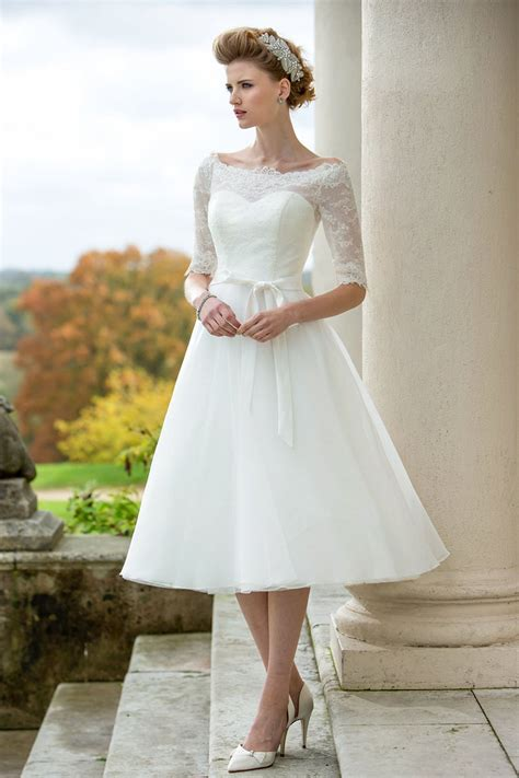 Brautkleider Wadenlang by Rustic Half Sleeves Lace Tulle Simple Tea Length A Line