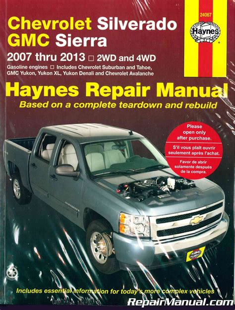 old car owners manuals 2012 gmc sierra spare parts catalogs 2007 2013 chevrolet gmc pick up haynes truck repair manual