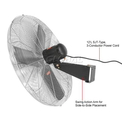 global oscillating wall mount fan 24 diameter fans wall fans tpi cacu24w 24 inch wall mount fan non