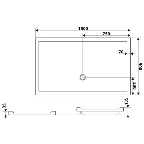 receveur en acrylique oxalys largeur 90 cm plat