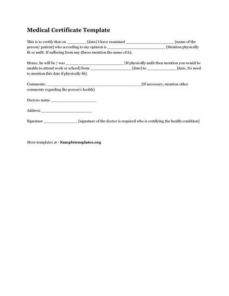 medical certificate templates certificate templates