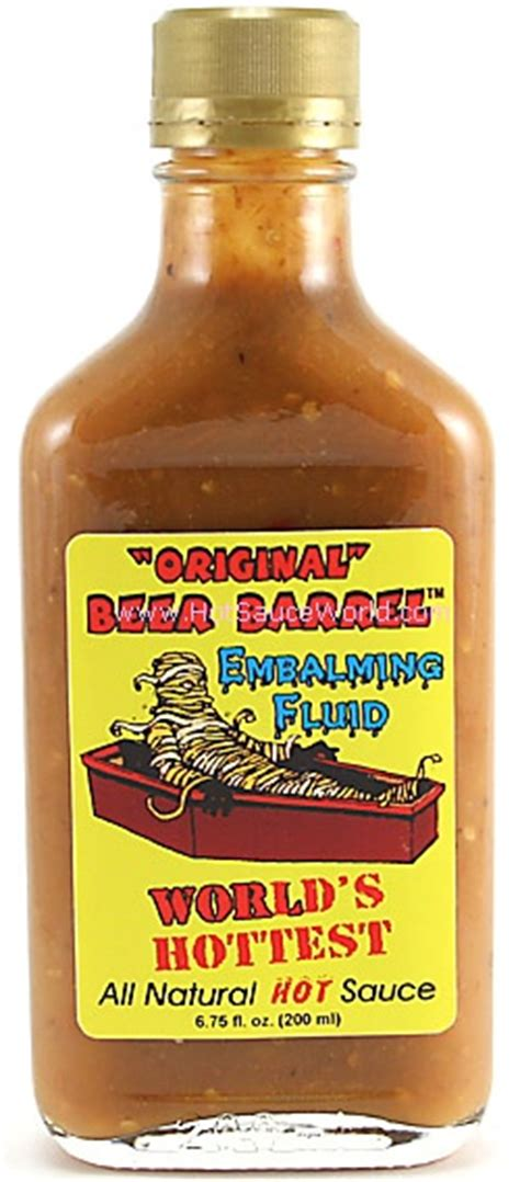 hottest hot sauce ever original beer barrel embalming fluid hot sauce 8oz