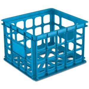 colored milk crates stackable storage crate by sterilite blue colored milk