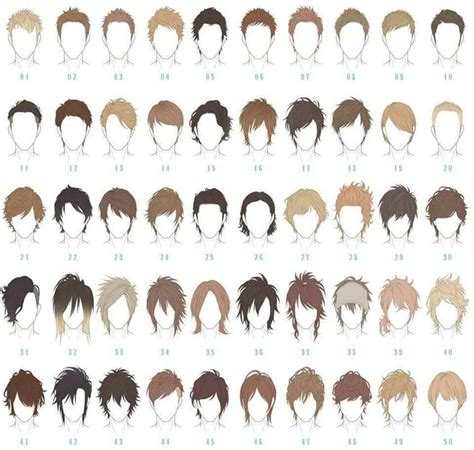 anime hairstyles guys tutorial male hair reference pinteres