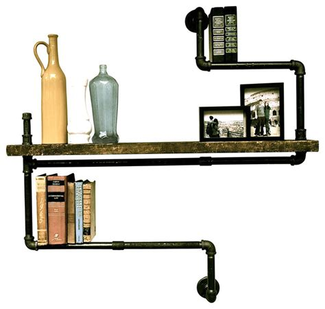 Individual Wall Shelves Level Three Industrial Pipe Single Wood Shelf Industrial