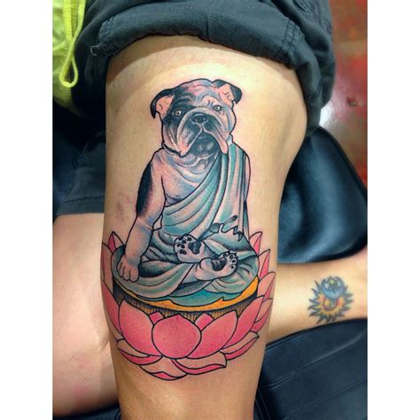 tribal bulldog tattoo bulldog buddha traditional tattooing