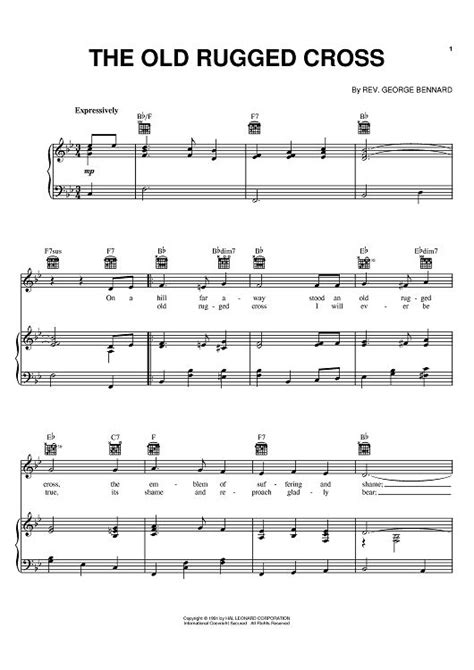 the rugged cross piano sheet the rugged cross sheet by johnny crosses sheet and the
