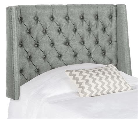 tufted winged headboard london grey linen tufted winged headboard flat nail