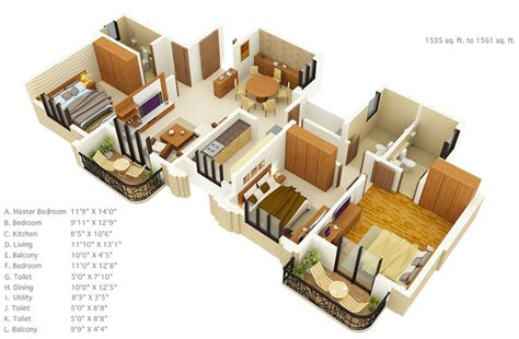 3 bhk home design layout 3 bedroom floor plans under 1600 square feet interior