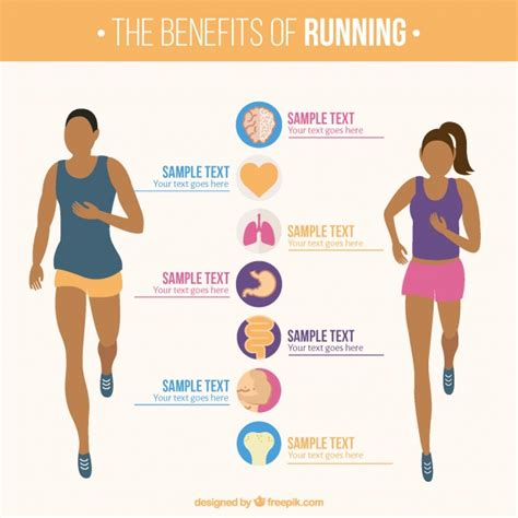 Infographic Template Of Woman And Man Running Vector Free Download Fitness Infographic Template