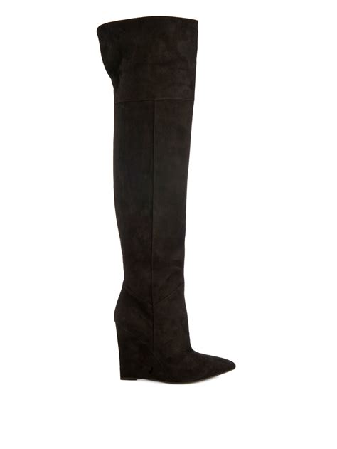 The Knee Wedge Boots the knee suede wedge boots yu boots