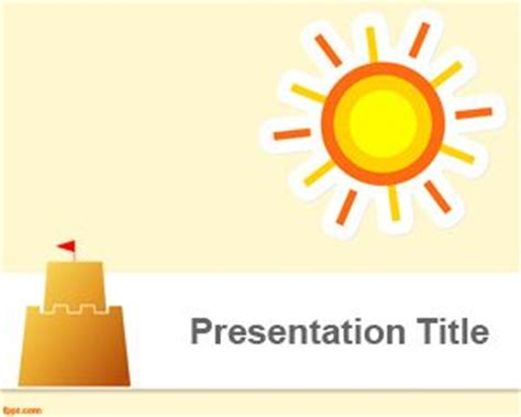 ppt themes sun sandcastle powerpoint template