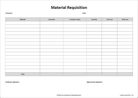 requisition form template material requisition form entry bookkeeping