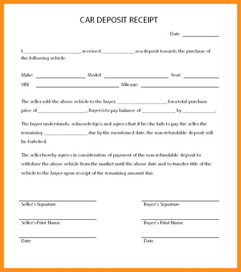 Sle Deposit Agreement Letter 4 Car Sale Receipt Template Uk Parts Of Resume