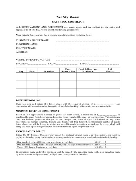 Catering Contract Template 6 Free Templates In Pdf Word Excel Download Banquet Contract Template