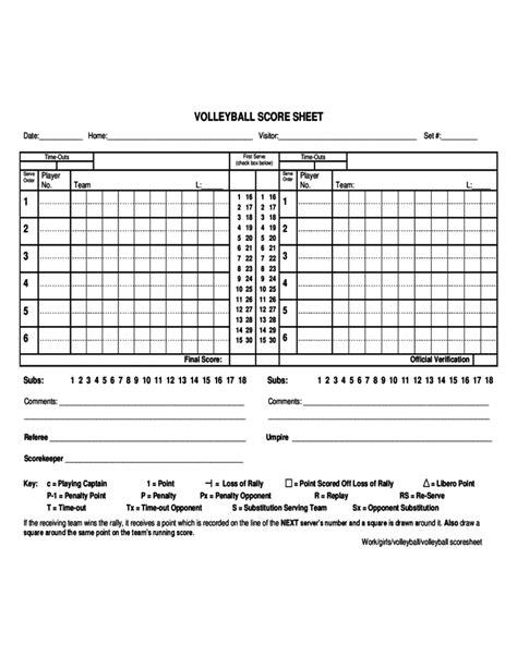 free printable volleyball score sheets volleyball score sheet exle free download