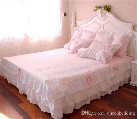 sweet pretty girl bedroom furniture with two times styles pink ruffle princess cotton duvet cover wedding bedding