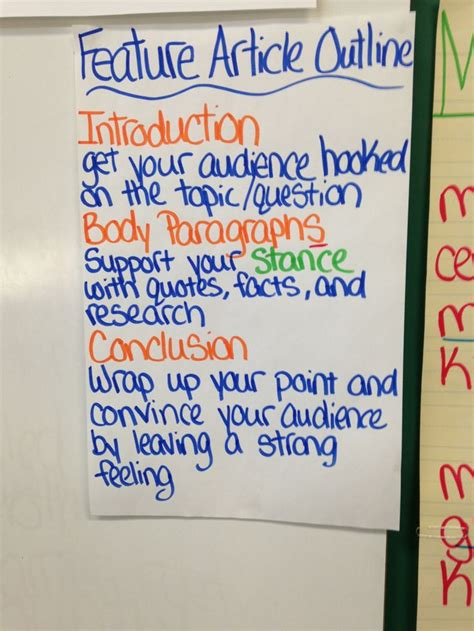 Feature Article Outline feature article outline anchor charts third grade articles