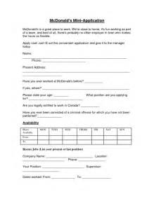 mcdonalds application form sle forms