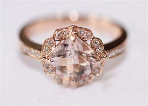 Dainty Engagement Ring Diana Engagement Ring Do by Vintage Floral Design Halo Cushion Cut Morganite Ring