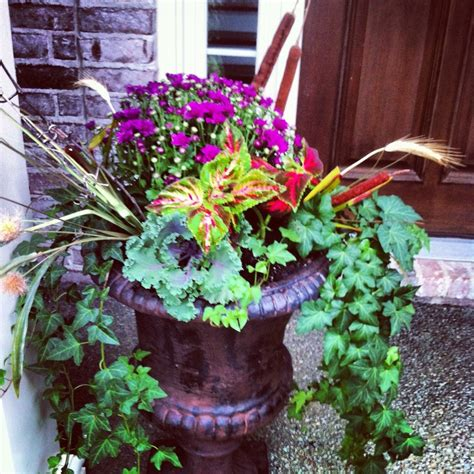Planters Recipes by Fall Planters Using Grasses Coleus Pink Mums Ornamental